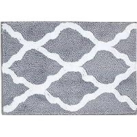 Pauwer Microfiber Bathroom Rugs Geometric Non Slip Bath Rugs Floor Mat Machine Washable (18×26 Grey)