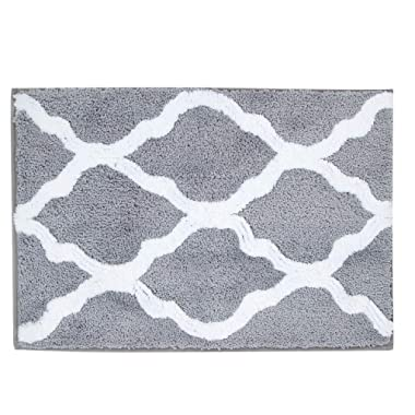 Pauwer Microfiber Bathroom Rugs Geometric, Non Slip Bath Rugs Floor Mat Machine Washable (18 x26 , Grey)