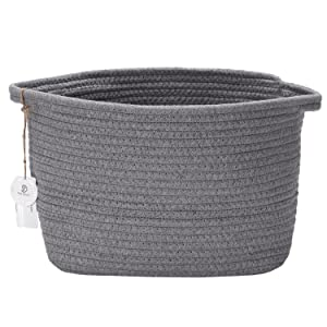 "Sea Team 12.2"" x 8.7"" Natural Cotton Thread Woven Rope Storage Basket Bin Hamper with Handles for Nursery Kid's Room Storage (Grey)"