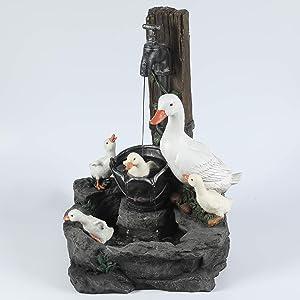 Winsome House Luxen Home Resin Duck Family Outdoor Patio Fountain