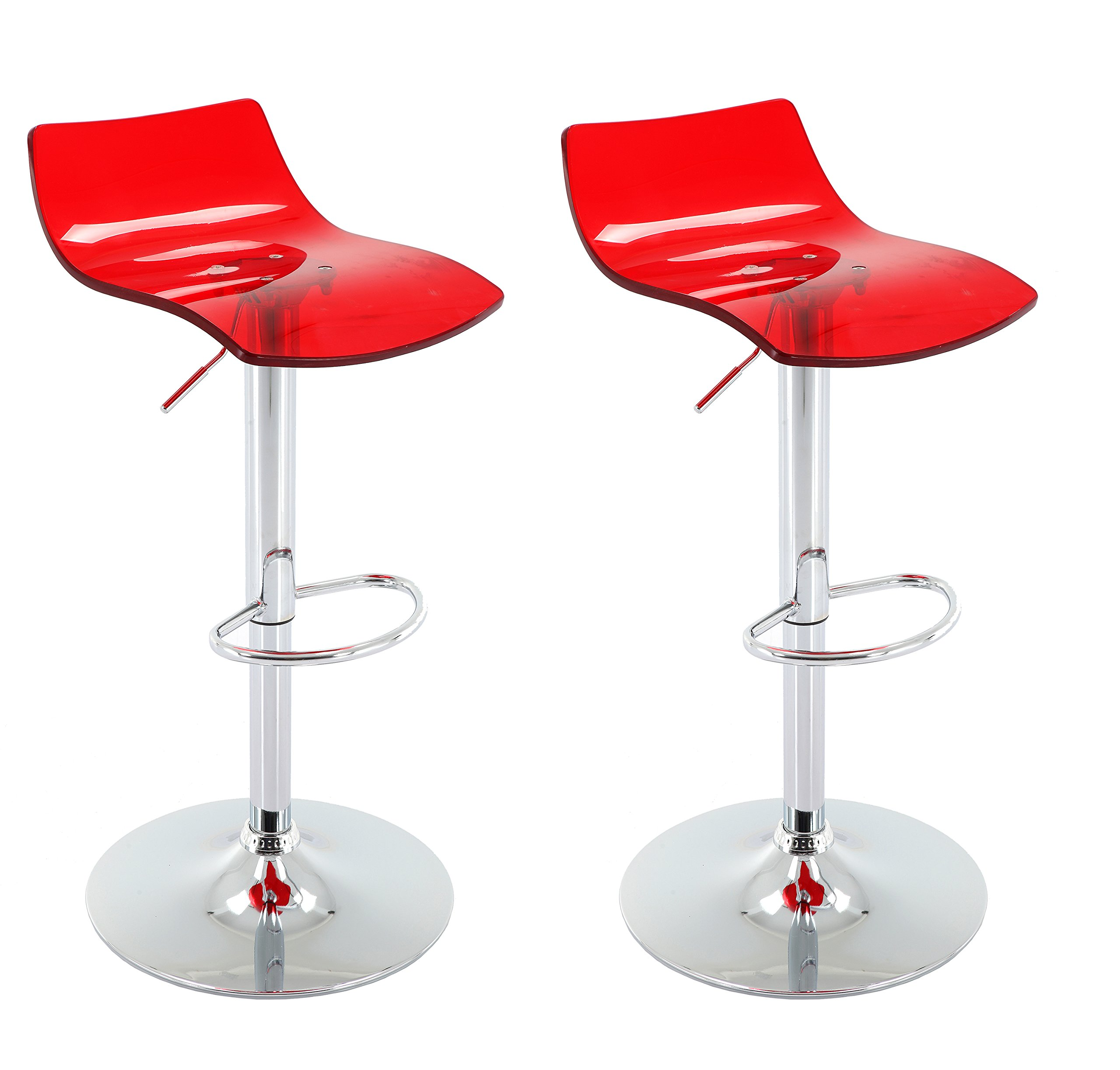 Vogue Furniture Direct Adjustable Arcylic Barstool, Red -VF1581032 (Set of 2)