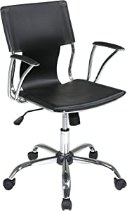 OSP Home Furnishings Dorado Contour Seat and Back with Built-in Lumbar Support Adjustable Office Chair, Black