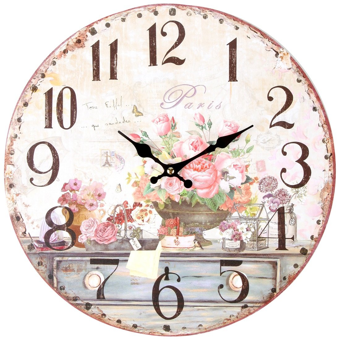 """Lily's Home Vintage Inspired French Pink Flowers Kitchen Wall Clock, Battery-Powered with Quartz Movement, Ideal Gift for Paris or Coffee Lovers (13"""" Diameter)"""