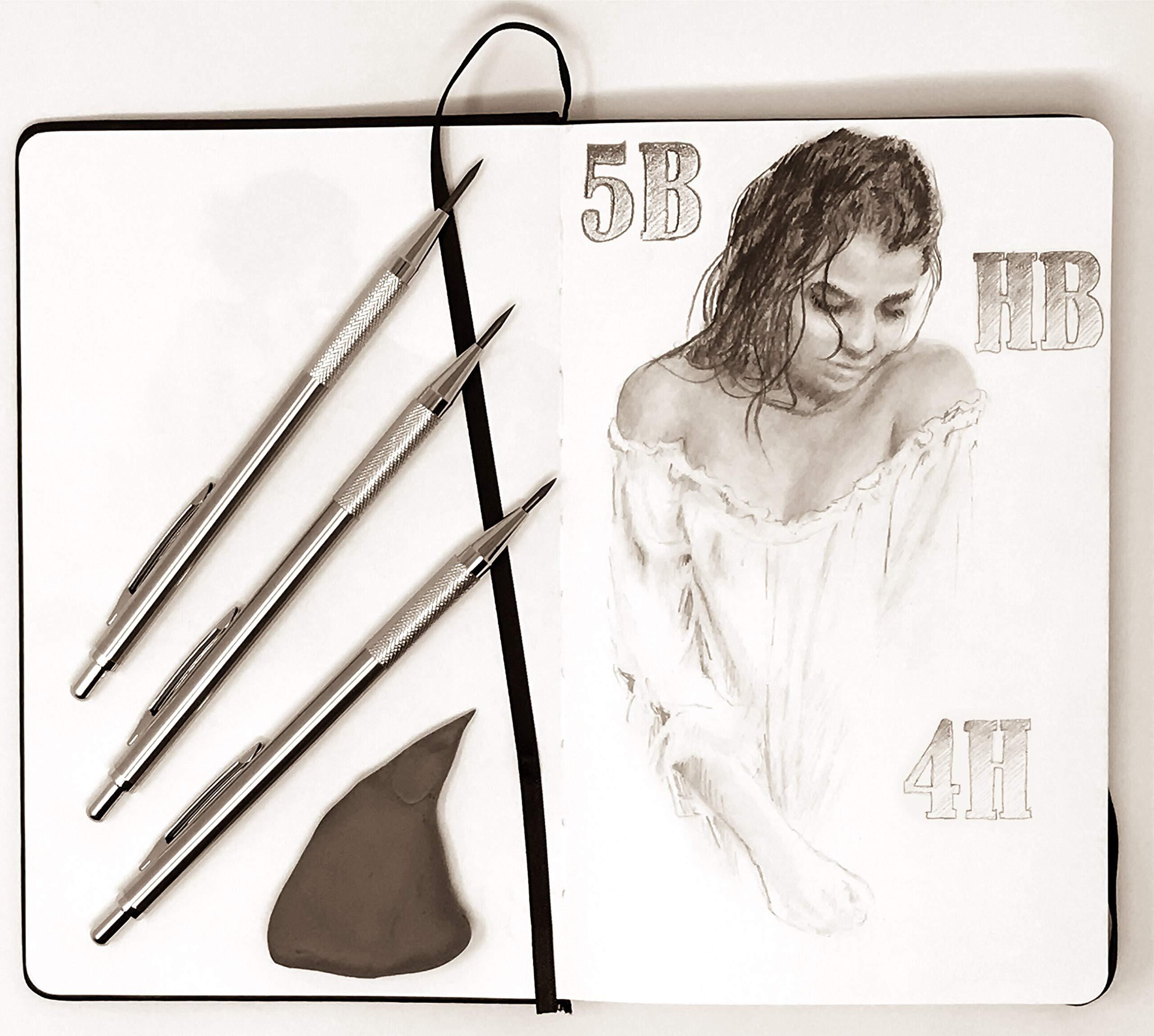 Drawing Mechanical Pencils 9-Piece | Kneaded Eraser | 2 mm Pencil Lead Refills for Artists | Travel Art Set Case | Professional Sketching & Drawing Kit | Metal Pen Barrel by MstrSktch (Image #5)