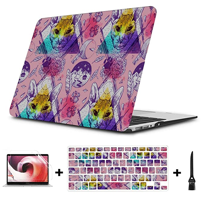 New MacBook Air Case Smart Well-Behaved Cute Cat Animal Pet Plastic Hard Shell Compatible Mac Air 11 Pro 13 15 Mackbook Case Protection for MacBook 2016-2019 Version