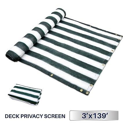 3' x 139', Green/White Strips: Windscreen4less Deck Privacy Screen for Backyard, Patio, Balcony, Pool, Porch, Railiing, Gardening, Fence Shield Rails Prote
