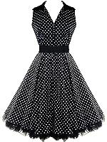 50's V-Neck Prom Polka Dot Dress Black
