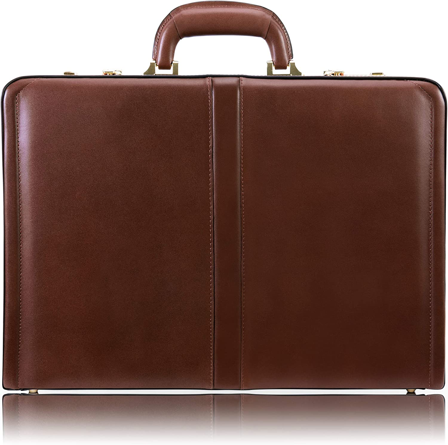 "McKlein, V Series, Reagan, Top Grain Cowhide Leather, Leather 3.5"" Attaché Briefcase, Brown (80444)"