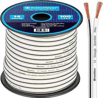 InstallGear 8 Gauge AWG 8ft Speaker Wire Cable - White