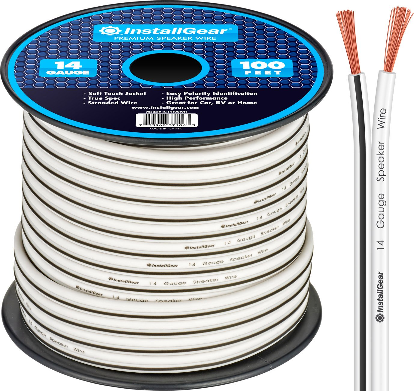 InstallGear 14 Gauge AWG 100ft Speaker Wire Cable - White by InstallGear