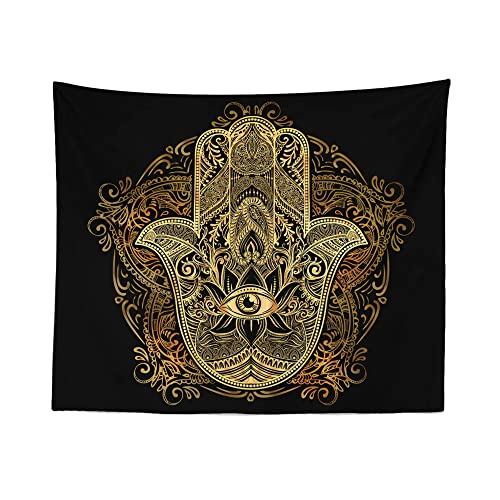 Hamsa Hand Tapestry Wall Hanging All Seeing Eye Occult Floral Tapestries Dorm Room Bedroom Decor Art – Printed in the USA – Small to Giant Sizes
