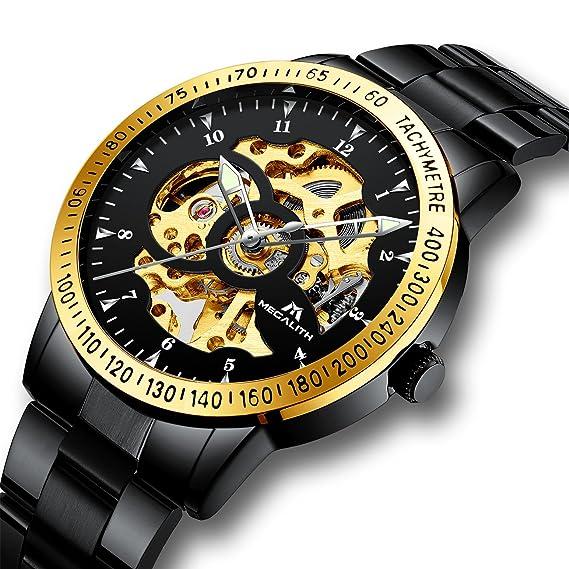 Relojes Hombre Reloj Mecánico Automático Impermeable Deportes Oro Esqueleto Lujo Diseño Relojes de Pulsera de Acero Inoxidable Negro Luminosos Analógico: ...