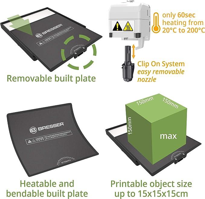 Bresser Color Negro Filamento PLA para Impresora 3D 1 kg