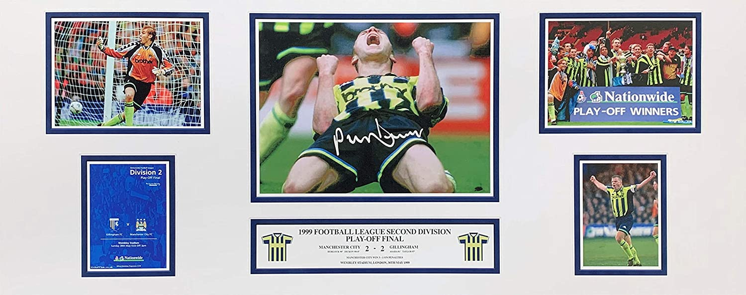 Paul Dickov signed Manchester City 1999 Playoff Final 30x12 inch storyboard photo with COA and proof