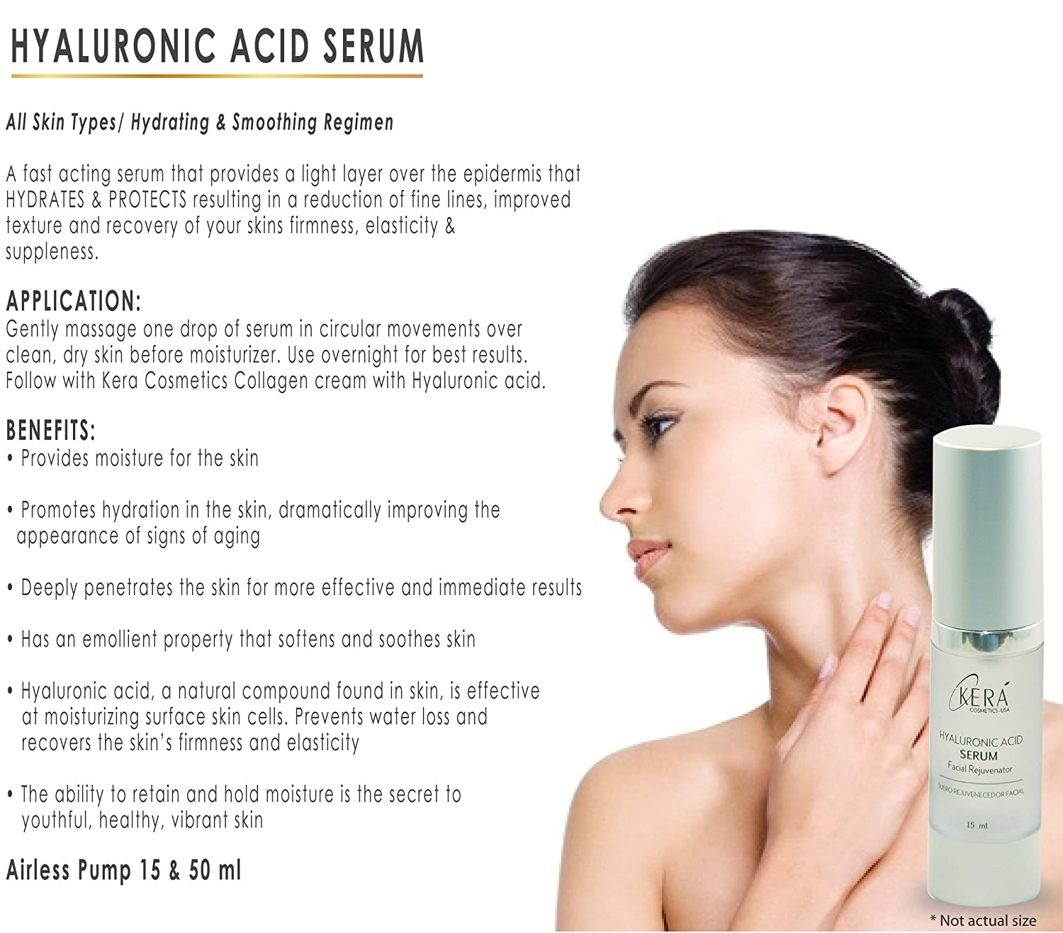 Amazon.com: Hyaluronic Acid Serum / Acido Hialuronico 50 ml / 1.75 oz: Beauty