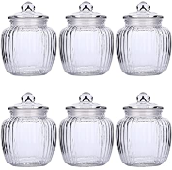 6 Storage Cans Big Box Of Chocolates Ribbed Glass Candy Jar About