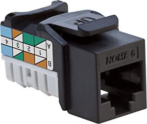 Leviton 61HOM-RE6 Home 6 Snap-In Connector, T568A/B Wiring, Black