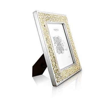 d8ca3642d5d Glamour by Casa Chic Gold Photo Frame 5x7 inch Frame Mosaic Glass Front  With Picture Mount for 6x4 inch Photo 4 Centimetres Edge Width Sparkling  Gold  ...