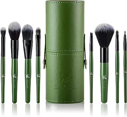 Brochas Maquillaje Pack de 8 piezas con Funda Incluida Eclat - Pack de 8 Piezas Brochas Maquillaje Bolsa de Transporte Resistente Cabezales Suaves y Duraderos y Mango Madera Auténtica Máxima Duración: Amazon.es: Belleza