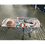 Baby Shopping Cart Hammock (Full Bloom) High Chair Cover for Baby or Toddler (Gray)