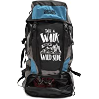 Mufubu Presents Get Unbarred 55 LTR Rucksack for Trekking, Hiking with Shoe Compartment - Black/Blue
