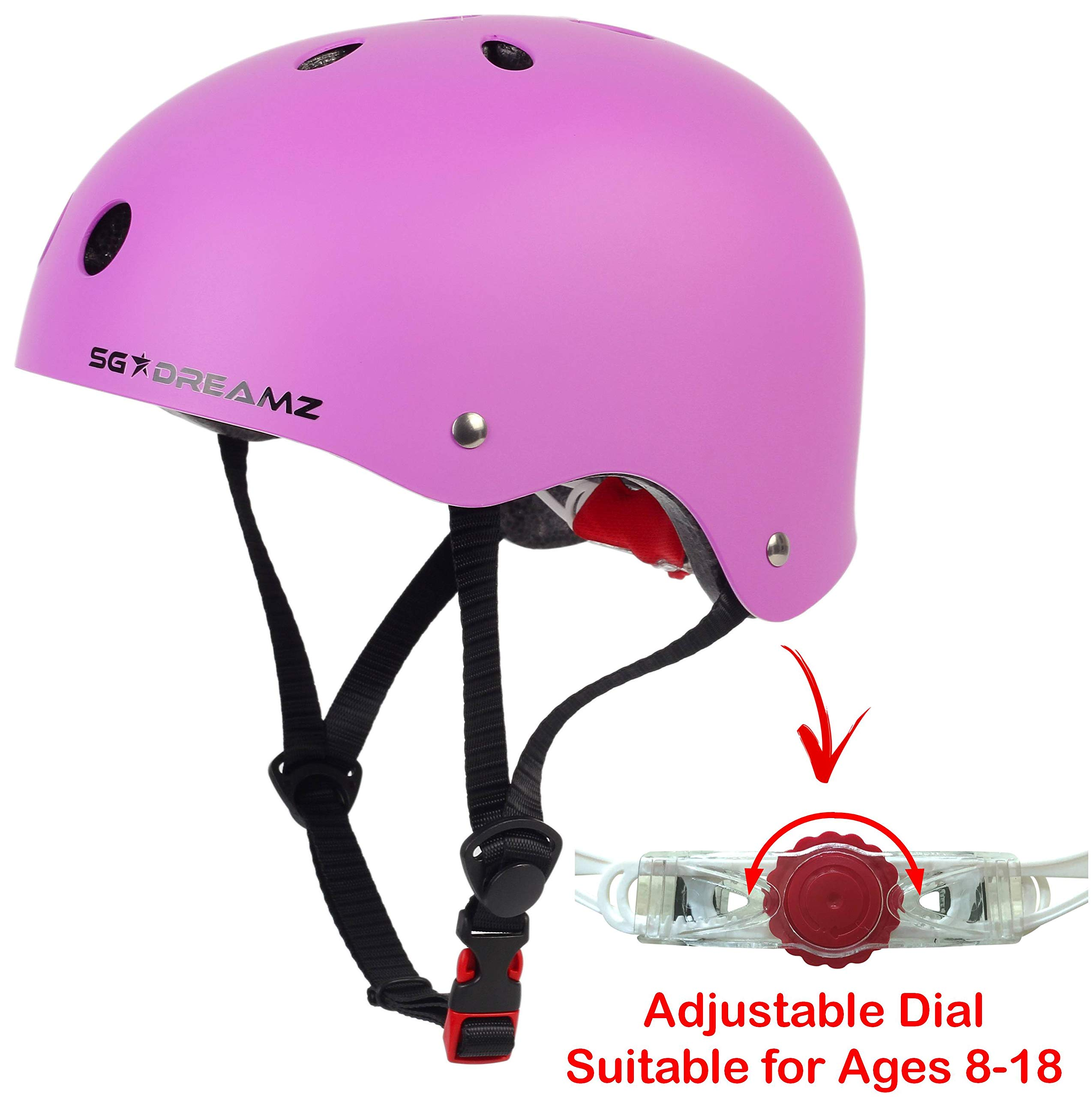 Youth Helmet - Multi-Sport Helmet for Skateboard Scooter Skating Bicycle Bike Cycling - Adjustable for Youth from Ages 8 to 18 - Certified for Safety (SK11M/L+MattePurple)