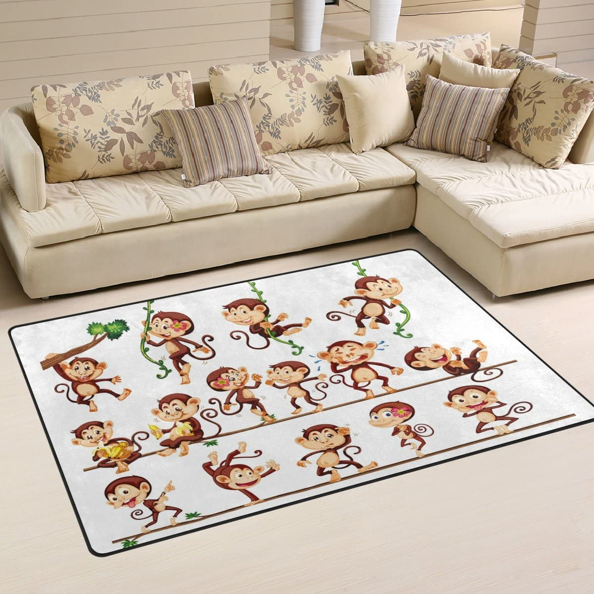 WOZO Monkey Doing Different Actions Area Rug Rugs Non-Slip Floor Mat Doormats Living Dining Room Bedroom Dorm 60 x 39 inches inches Home Decor