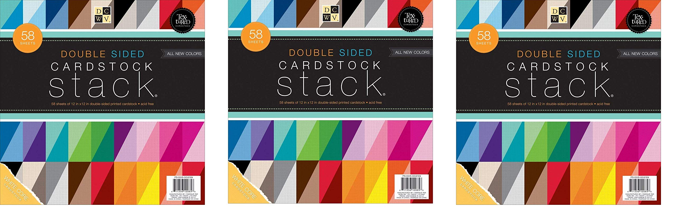 DCWV Double Sided Cardstock Stack, Textured, 58 Sheets, 12 x 12 inches (3-Pack, Basic Color)