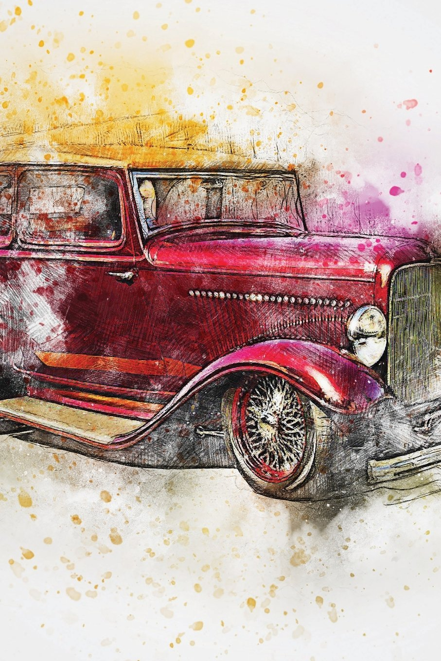 Vintage Maroon Car Watercolor Journal: Dotted Grid Paper Notebook for Bullet Journaling (Classic Auto) PDF