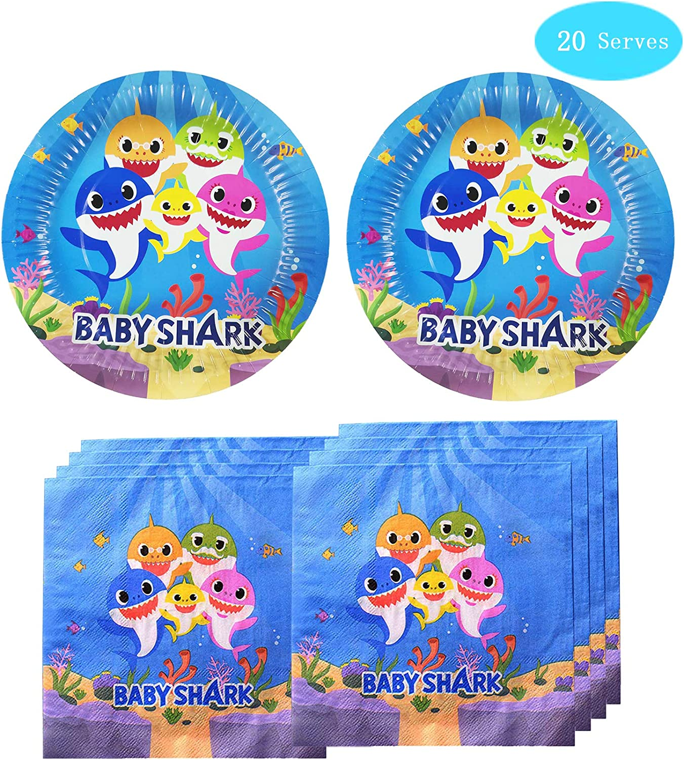 Shark Themed Party Supplies for Baby Set Disposable Plates- Shark Cake Plates and Napkins Shark Birthday Party Decorations for Baby Boys Girls and Baby Shower