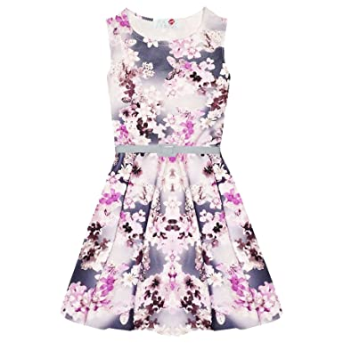 a0d8429e13fa Girls Skater Dress Kids Floral Belted Summer Party Dance Sun Dresses ...