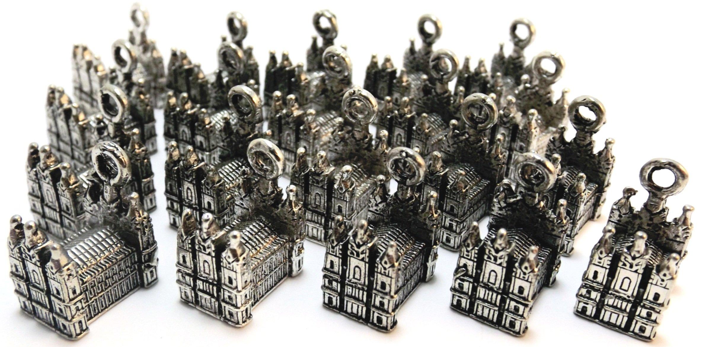 Set of Twenty (20) Silver Tone Pewter Mormon Temple Charms