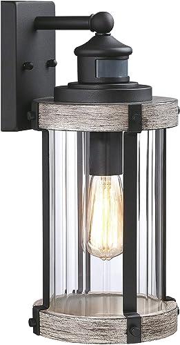 MOTINI Motion Sensor Outdoor Wall Lantern Lamp ,Rustic Dusk to Dawn Wall Sconce Exterior Light Fixture Wall Mount