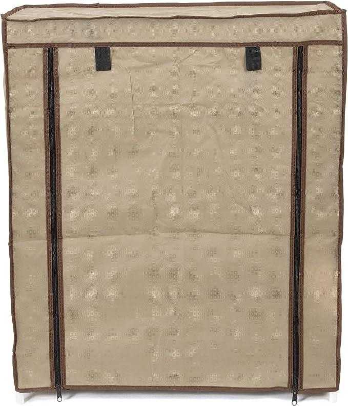 Compactor Zapatero 4 baldas con funda, Color marrón, Fabricado en polipropileno, Tamaño, 59 x 29 x 72 cm, Capacidad para 12 pares, RAN6960