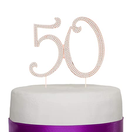 Decoración para tarta para 50 para 50th cumpleaños o aniversario – Rhinestone Metal decoración para fiesta oro rosa