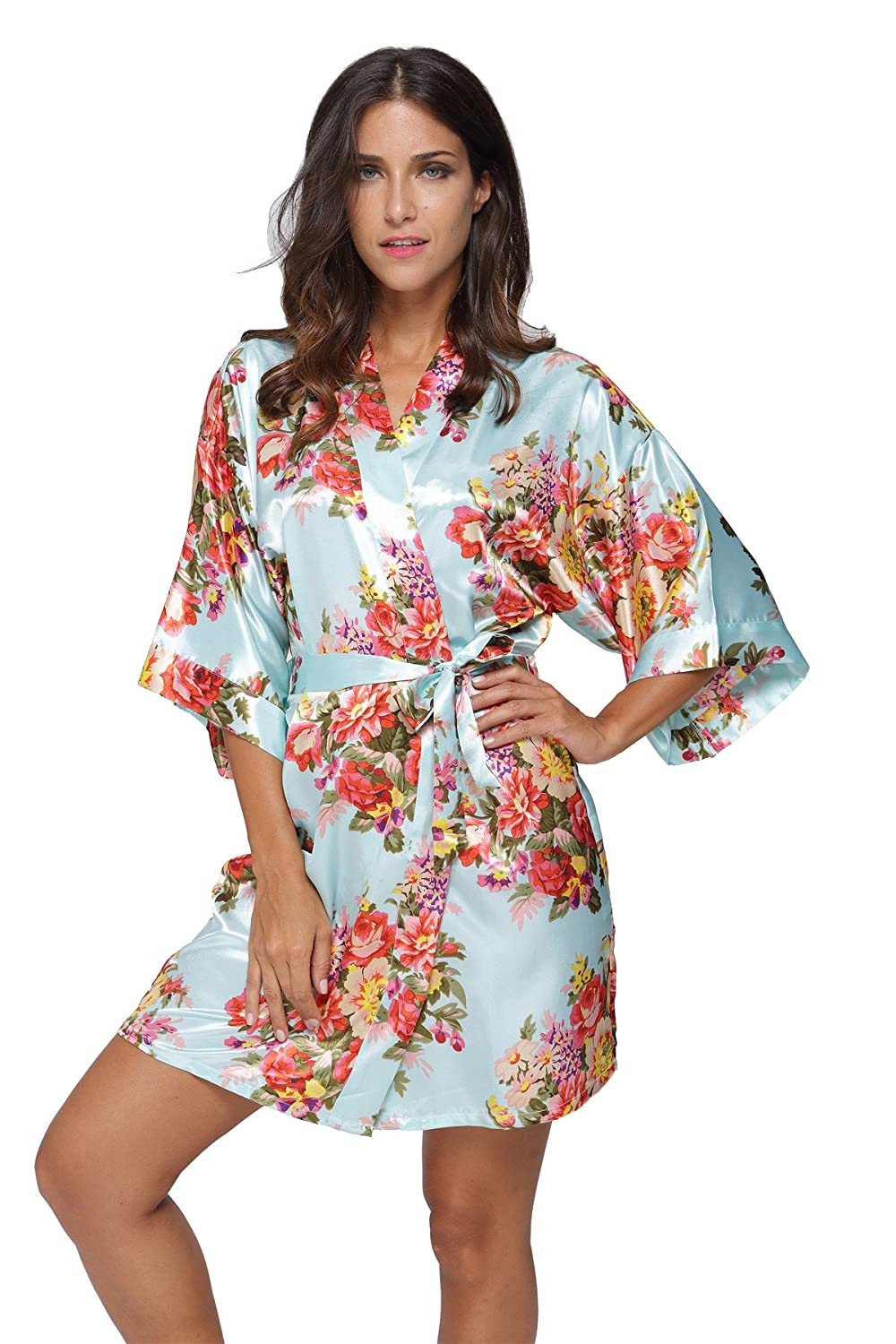 675daf3cf4 KimonoDeals Women s dept Satin Short Floral Kimono Robe for Wedding Party  at Amazon Women s Clothing store