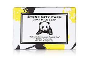 Activated Charcoal Goat Milk Soap - Unscented Facial Bar, Enriched with Shea Butter & Avocado Oil - 100% Natural 5 oz. Bar