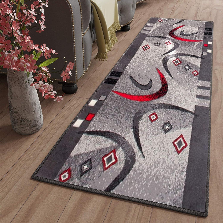 Tapiso Dream Läufer Teppich Flur Brücke Modern Streifen Bumerang Linien Abstrakt Muster in Grau Korridor Wohnzimmer ÖKOTEX 120 x 300 cm