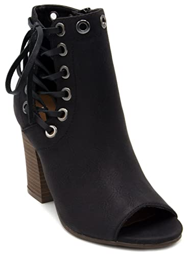 Women's onder Lace Up Ankle Boot Peep Toe Bootie With Grommets