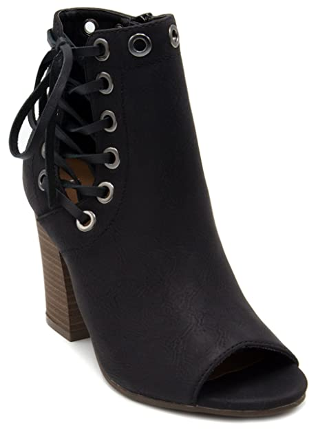 d643b75d2924 Amazon.com  Rampage Women s Onder Lace Up Ankle Boot Peep Toe Bootie with  Grommets 9 Black  Toys   Games
