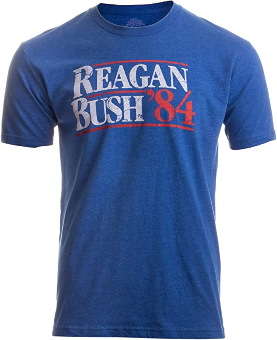 80s Men's Clothing | Shirts, Jeans, Jackets for Guys Reagan Bush 84 | Vintage Style Conservative Republican GOP Unisex T-Shirt $16.95 AT vintagedancer.com