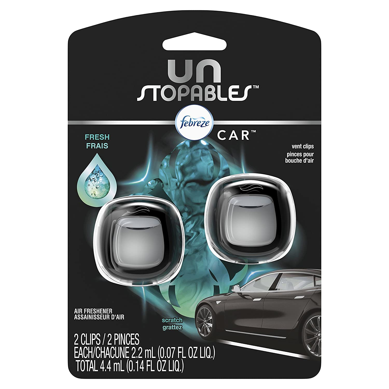 Febreze Car Unstoppables Air Freshener Vent Clip, Fresh, 2 count Procter and Gamble