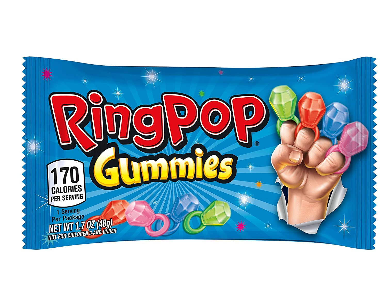 Ring Pop Gummies Rings - Individual 16 Packs Assorted Gummy Candy Flavors (1.7 Oz Bag) - Fun Candy for Birthdays and Celebrations