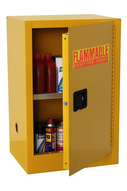 Edsal SC16F-P Safety Cabinet for Flammable Liquids, Single Door and Manual Close, 16 gal, 1118 mm Height, 584 mm Width, 457 mm Depth, Steel, Yellow EDSAL SANDUSKY CORPORATION ZHONGSHAN