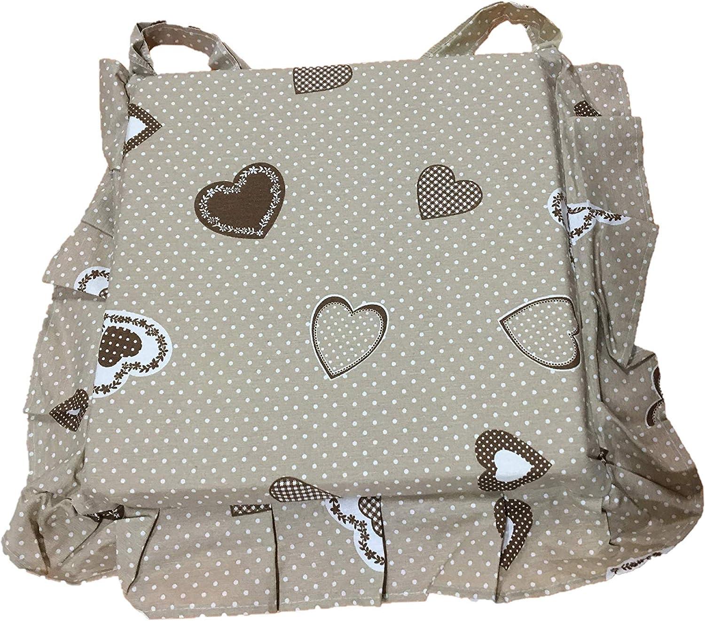 Set 6 cuscini shabby cuore marrone pois bianco con volant 40x40 spessore 5 cm, copri sedia cucina,salotto Euronovità MADE IN ITALY