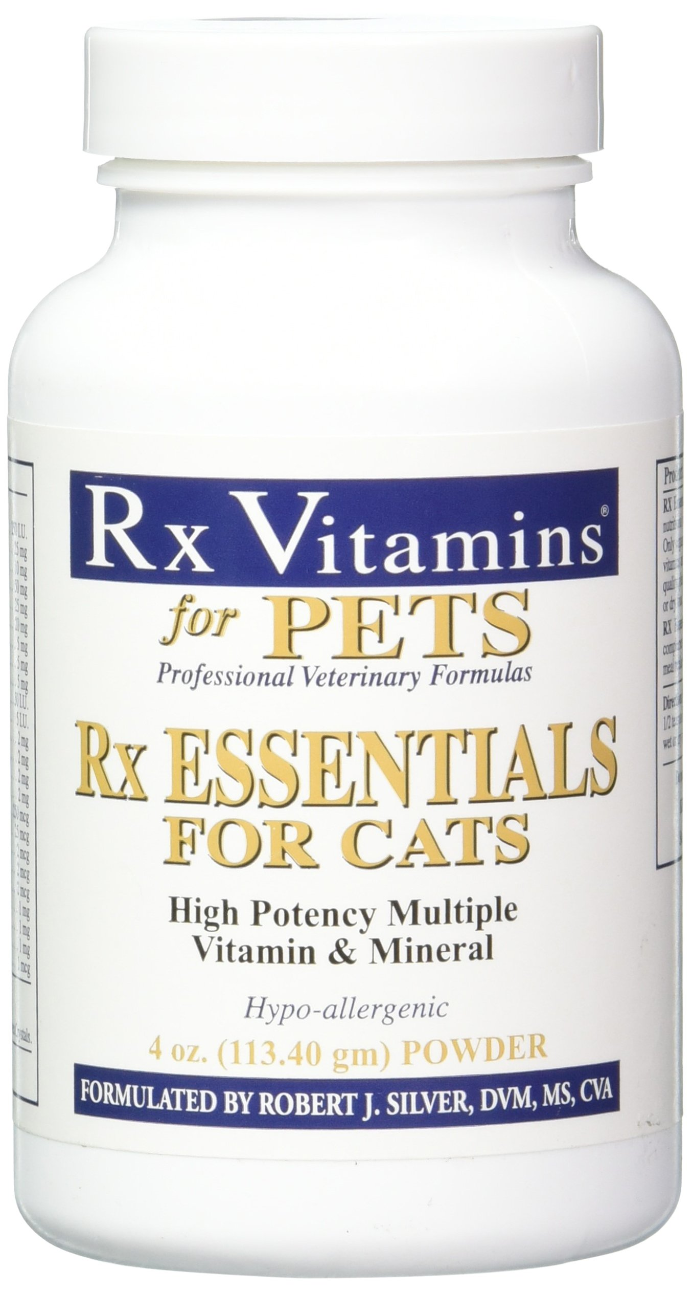 Rx Vitamins Essentials for Cats - Vitamin & Mineral Multivitamin Supplement - Add to Wet or Dry Cat Food - Powder 4 oz by Rx Vitamins