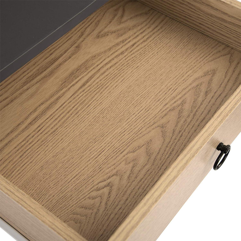 EUGAD 0062ZZ Nachttisch Beistelltisch mit 2 Schubladen Nachtkommode Nachtschrank Holzbeine MDF 46x35x50cm Grau