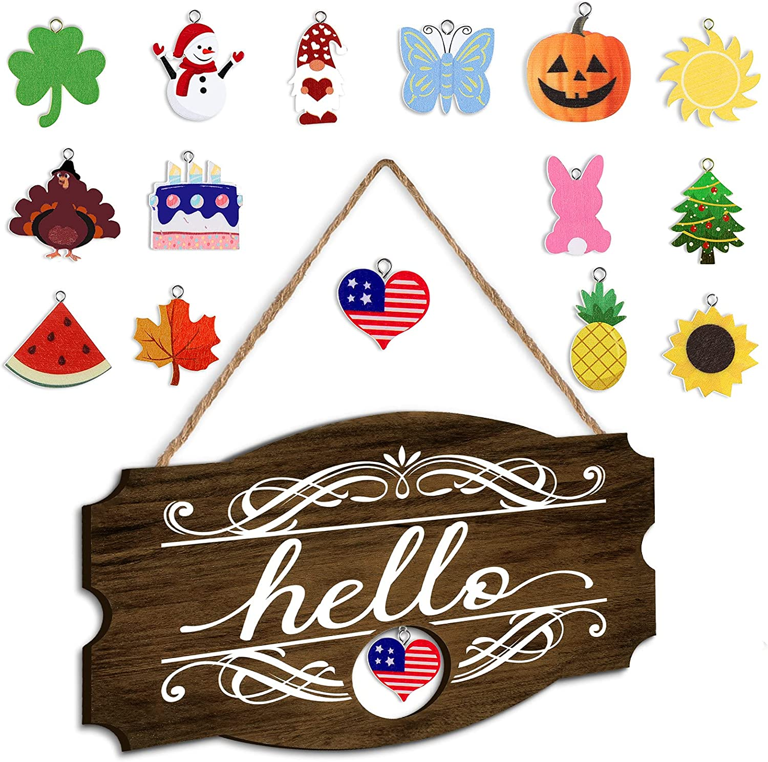 Interchangeable Seasonal Hello Sign Rustic Wood Front Door Decor Welcome Home Farmhouse Wall Hanging Porch Decoration with 16 Holiday Pendants for Independence Day Summer Fall Halloween, 14 x 9 Inch