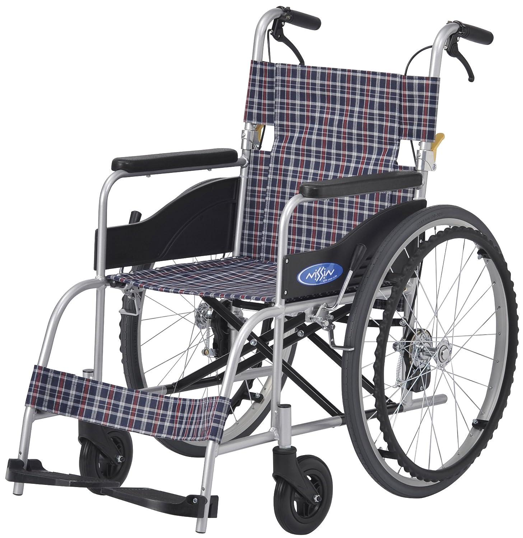 【非課税】 日進医療器 NEO-1 NEOシリーズ 自走型 自走用 車いす チェック地 前座高430mm 重量12.7kg 座幅40cm 22インチハイポリマータイヤ B013QO9ZU2
