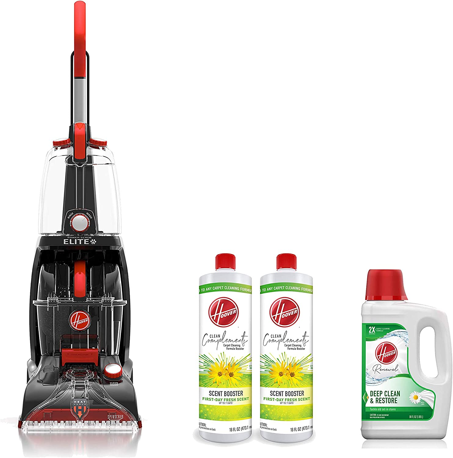 Hoover FH50251PC Power Scrub Elite Pet Upright Carpet Cleaner and Shampooer, Red & Deep Cleaning Carpet Shampoo, White, 64 Fl Oz & Scent Booster for Carpet Cleaner Machines, 16 oz, Pack of 2, White